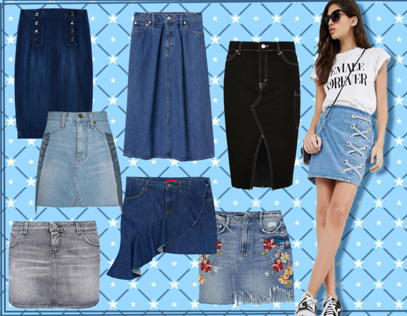 varie gonne di gonna jeans
